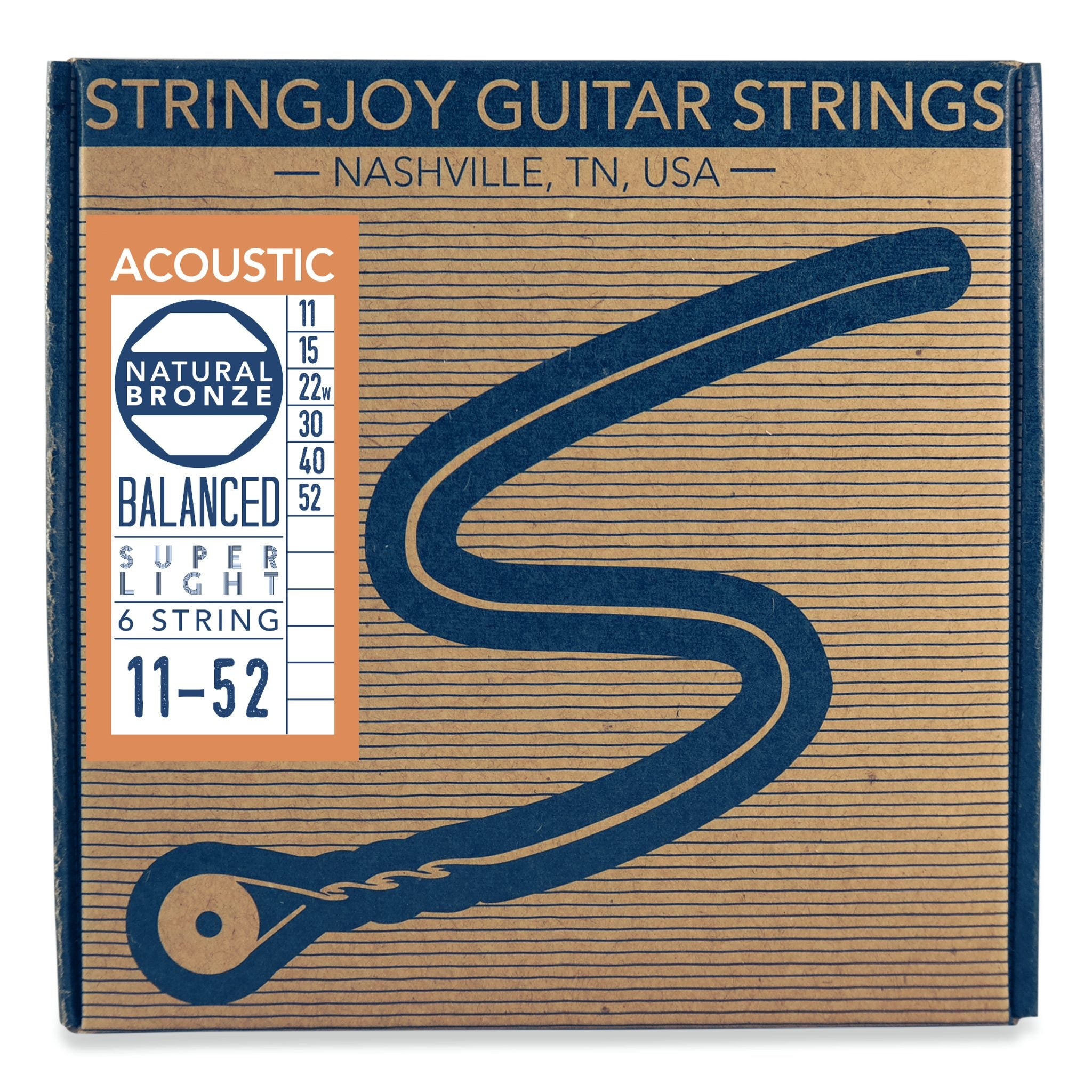 Stringjoy Naturals - Super Light Gauge (11-52) Phosphor Bronze Acoustic Guitar Strings