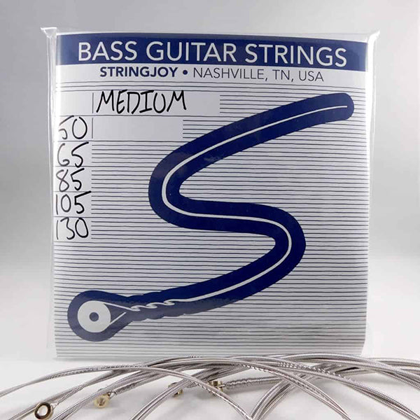 Stringjoy 5 String Nickel Wound Bass Guitar Strings - Medium Gauge (50-130)