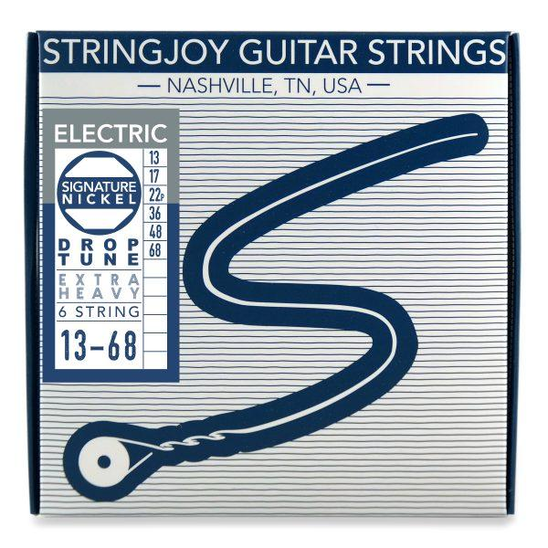Stringjoy 6 String Nickel Wound Electric Guitar Strings - Drop Tune Extra Heavy Gauge (13-68)