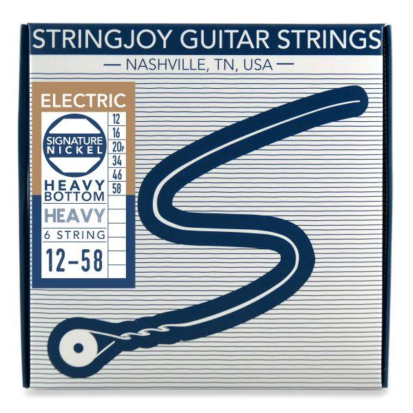 Stringjoy 6 String Nickel Wound Electric Guitar Strings - Heavy Bottom Heavy Gauge (12-58)