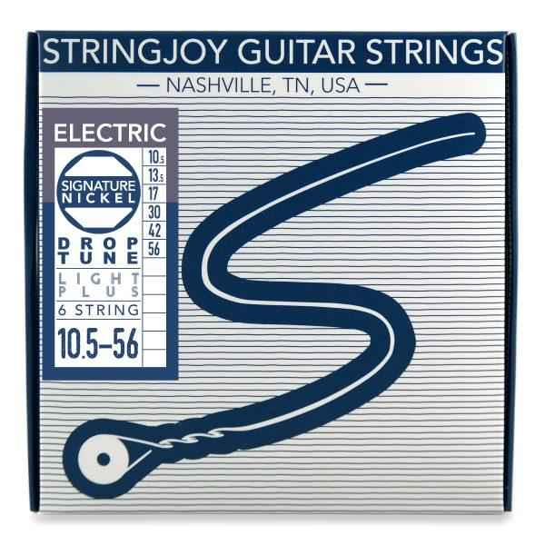 Stringjoy 6 String Nickel Wound Electric Guitar Strings - Drop Tune Light Plus Gauge (10.5-56)