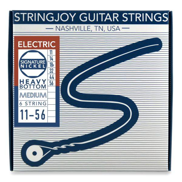 Stringjoy 6 String Nickel Wound Electric Guitar Strings - Heavy Bottom Medium Gauge (11-56)