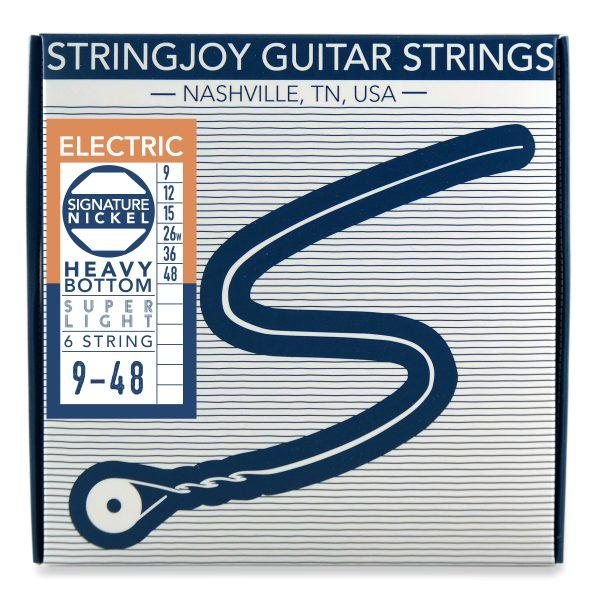 Stringjoy 6 String Nickel Wound Electric Guitar Strings - Heavy Bottom Super Light Gauge (9-48)