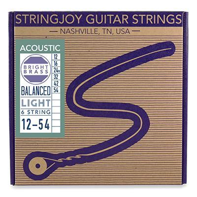 Stringjoy Brights - Light Gauge (12-54) 80/20 Bronze Acoustic Guitar Strings
