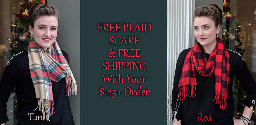 FREE Plaid Scarf And Free Shipping With 125 Order