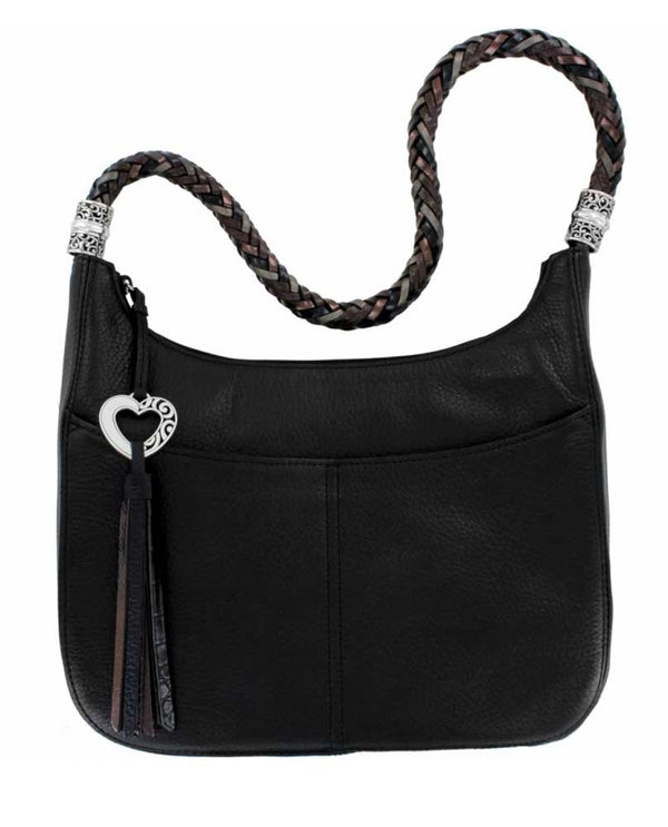 Black Brighton H20453 Barbados Ziptop Hobo made of luxe leather with braided strap and tassel