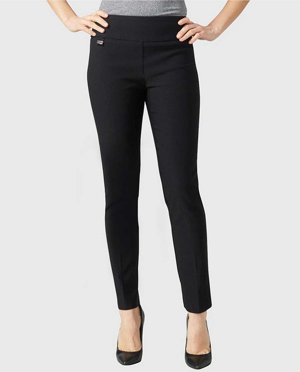 Black Lisette 801 Ankle Pants with comfortable elastic waistband and tummy control panel