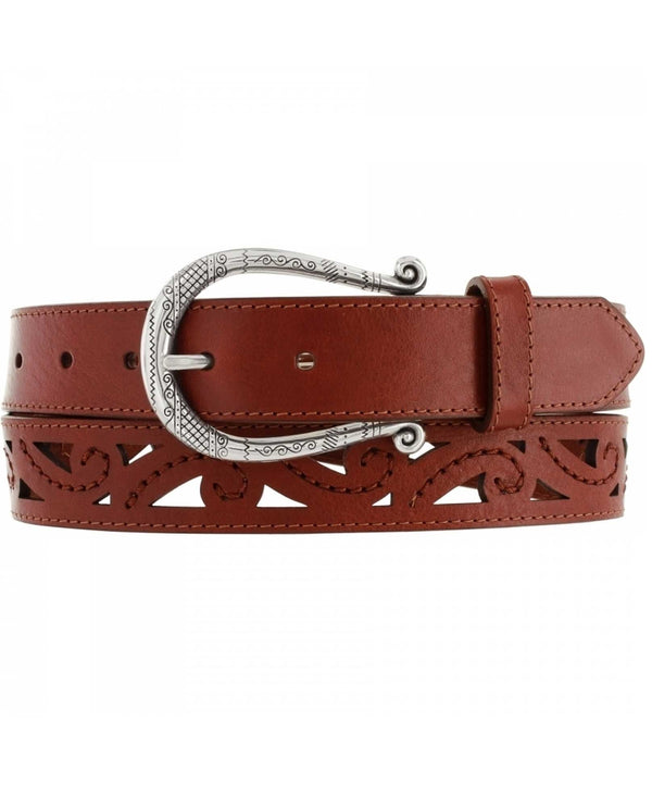 Brighton B21355 Genoa Scrolled Cut Belt brown leather belt for women