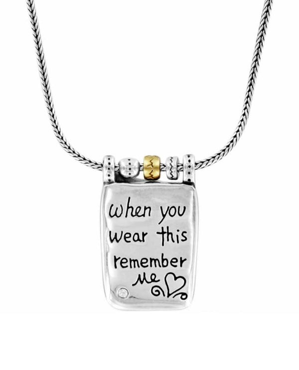 Silver gold Brighton J48522 Remember Your Heart Necklace says When you wear this remember me