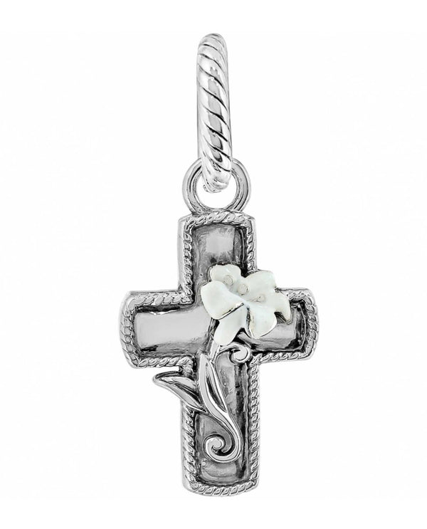 Silver Brighton JC1013 Easter Lily Cross Charm with gorgeous white lily