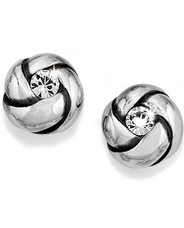 Brighton J21532 Love Me Knot Mini Post Earrings silver studs with Swarovski crystals