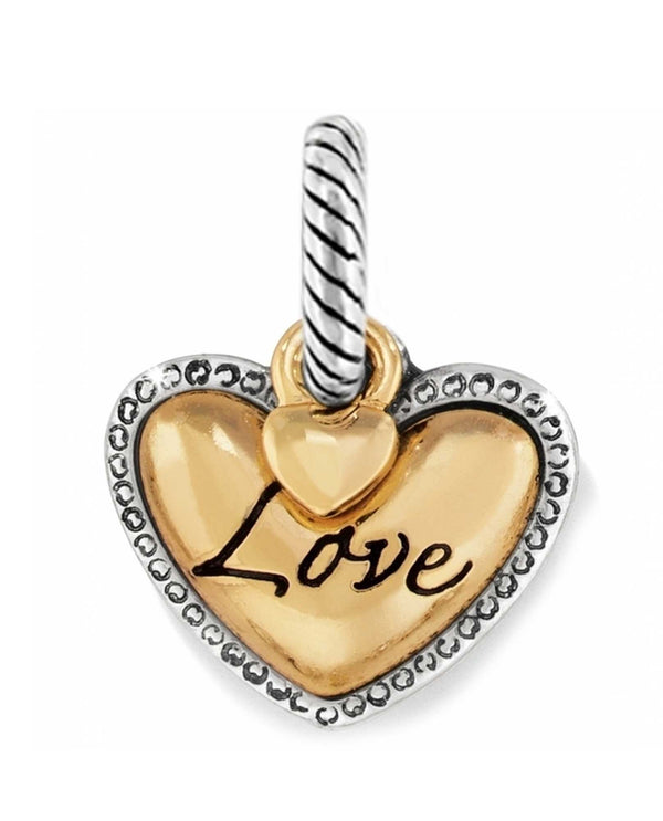 Silver gold Brighton J99811 Big Love Charm golden heart with silver outline that says love