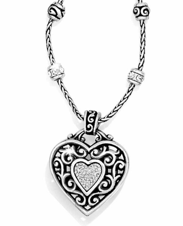 Silver Brighton J44242 Reno Heart Necklace with etched swirls design and beading