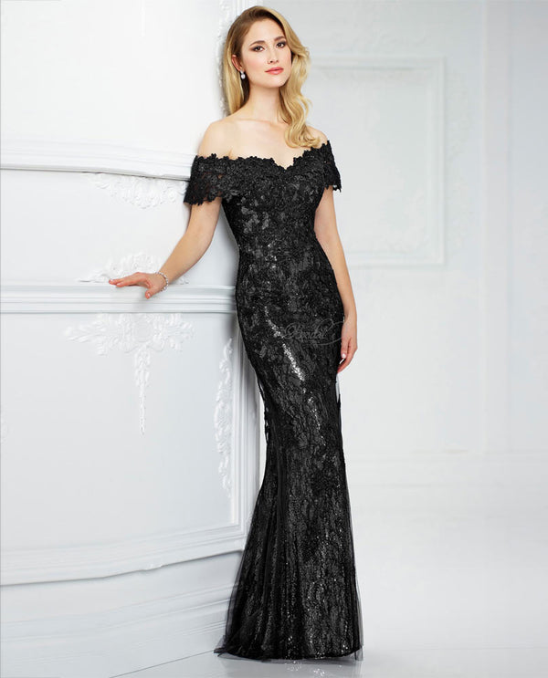 Montage 217941 Off Shoulder Lace Dress black silver lace and sequin long mother of the bride dress