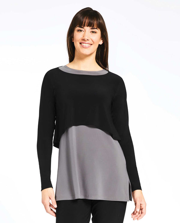 Black Sympli 22104-3 Shorty Top Long Sleeve with wrinkle-free fabric and crop top style