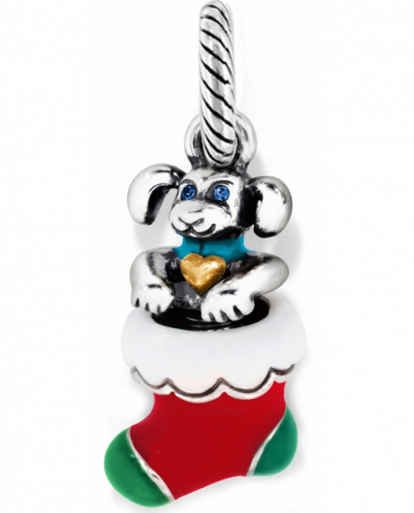 Silver Brighton Christmas Puppy Charm J99782 in a red and green stocking