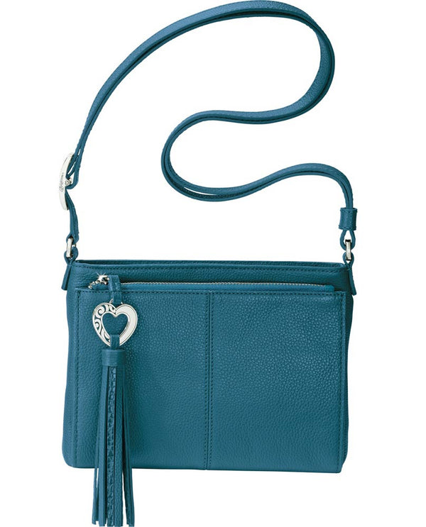 Brighton T4351Q Lagoon Barbados City Organizer with heart tassel and leather material with multiple pockets