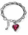 Silver red Brighton JB7717 Bibi Heart Gem Bracelet with asymmetrical red Swarovski heart