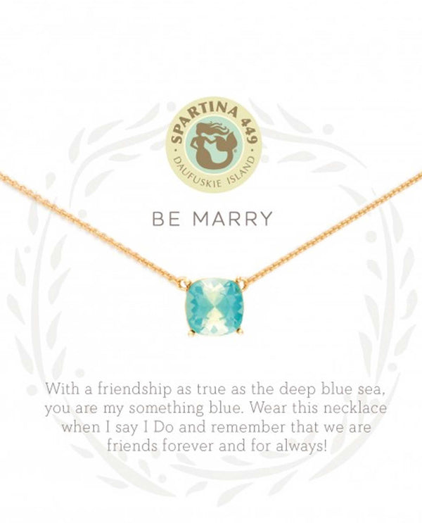Spartina 818518 Be Marry Something Blue friendship necklace with a green crystal