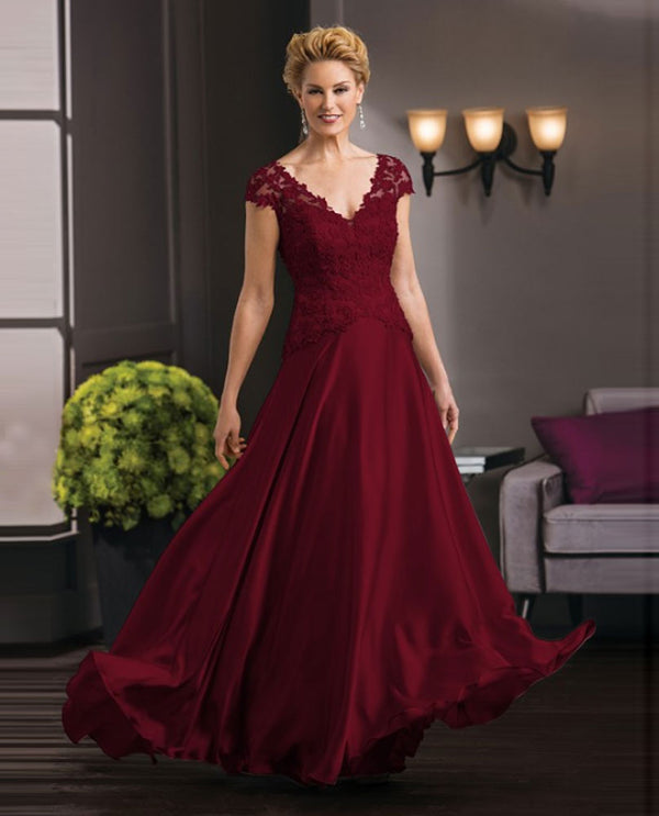 Jade Couture K188051 Lace Top Full Skirt black cherry cap sleeve mother of the bride gown