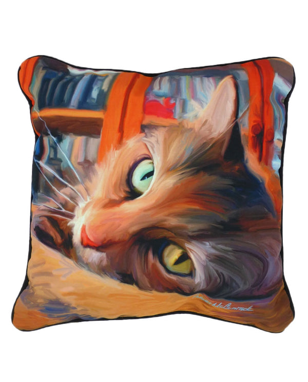 Manual Woodworkers & Weavers SLKRYC Yellow Cat Pillow