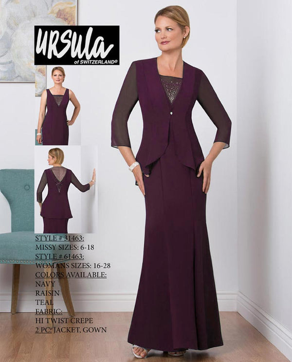 Ursula 31463 Crepe Beaded Jacket Set raisin purple long mother of the bride gown with jacket