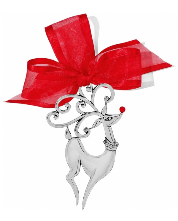 Silver Brighton G70580 Oh Dear Christmas Ornament with red nose and ribbon