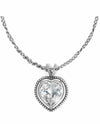 Silver Brighton JL2781 Ecstatic Heart Mini Necklace with oversized Swarovski crystal heart