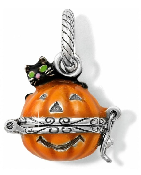 Brighton JC2433 Spooky Pumpkin Charm halloween pumpkin charm with a black cat on top
