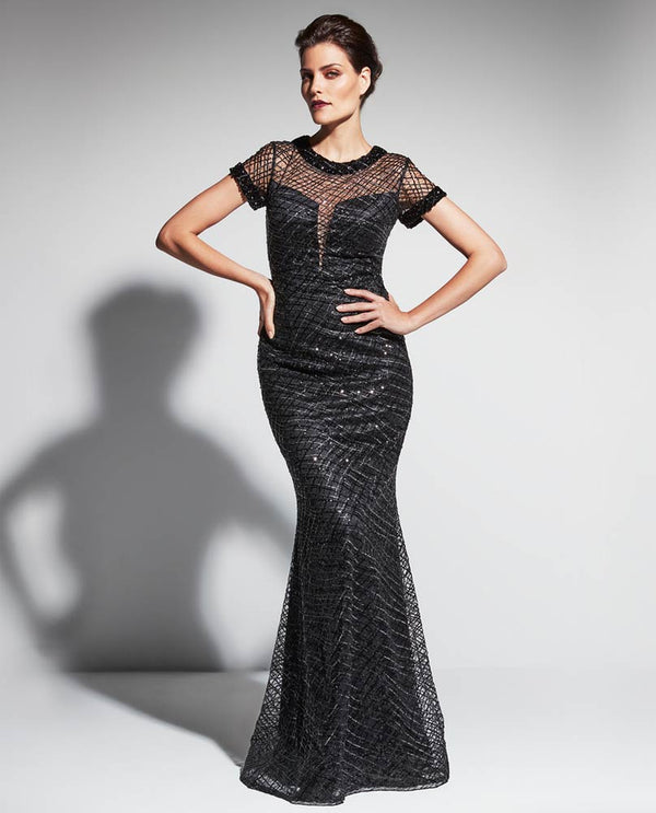 Daymor Couture 473 Sequin Illusion Dress black long dress with beaded illusion neckline