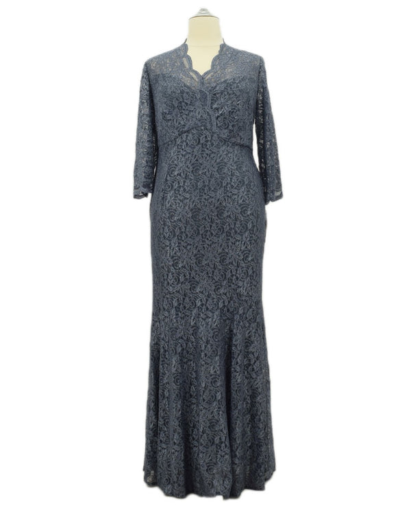 Grey Alex Evenings 4121873 Womens Lace Fit & Flare plus size mother of the bride dresses