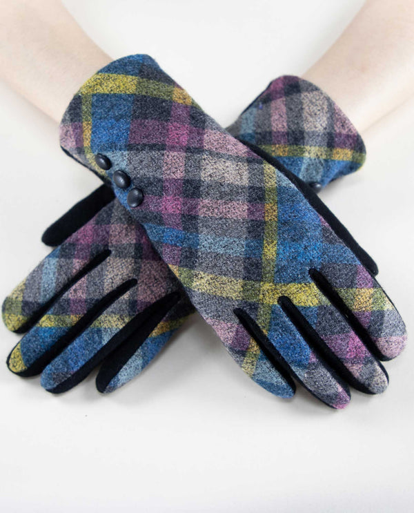 12253 Two Tone Plaid Tech Gloves BNYL