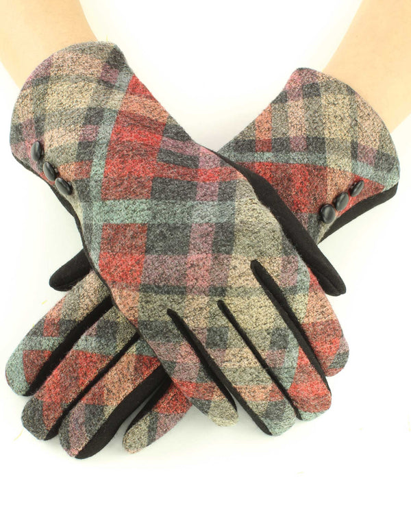 12253 Two Tone Plaid Tech Gloves BNRT