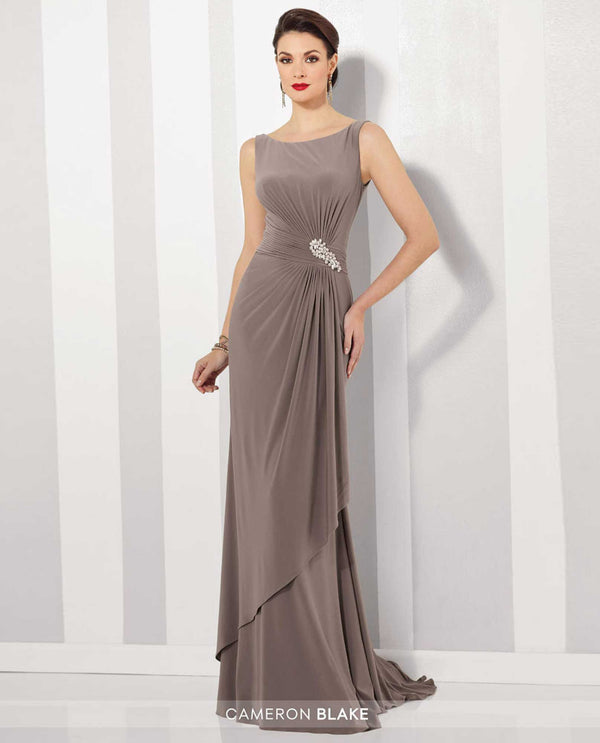 Cameron Blake 216690 Sleeveless Ruched Waist Dress Mink