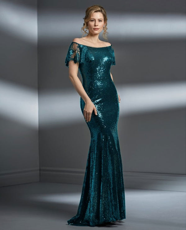 Teal Jade Couture K198063 Portrait Neckline Sequin Gown