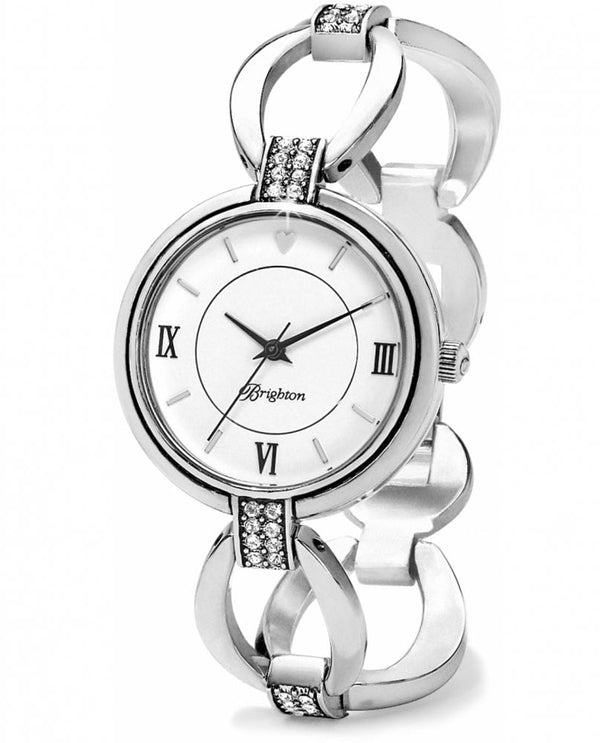Silver Brighton W10310 Meridian Swing Watch with chain linked by pave Swarovski crystals