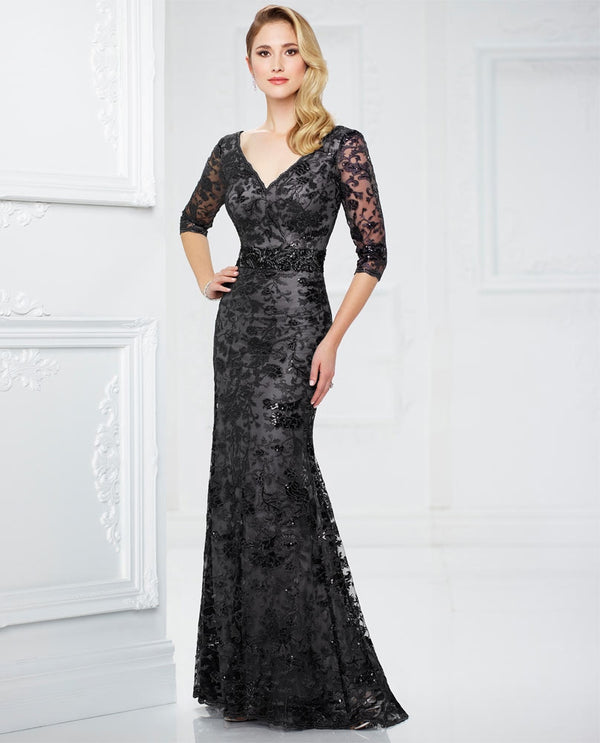 Montage 217932W Womens 3/4 Sleeve Sequin Lace Dress black mother of the bride dress