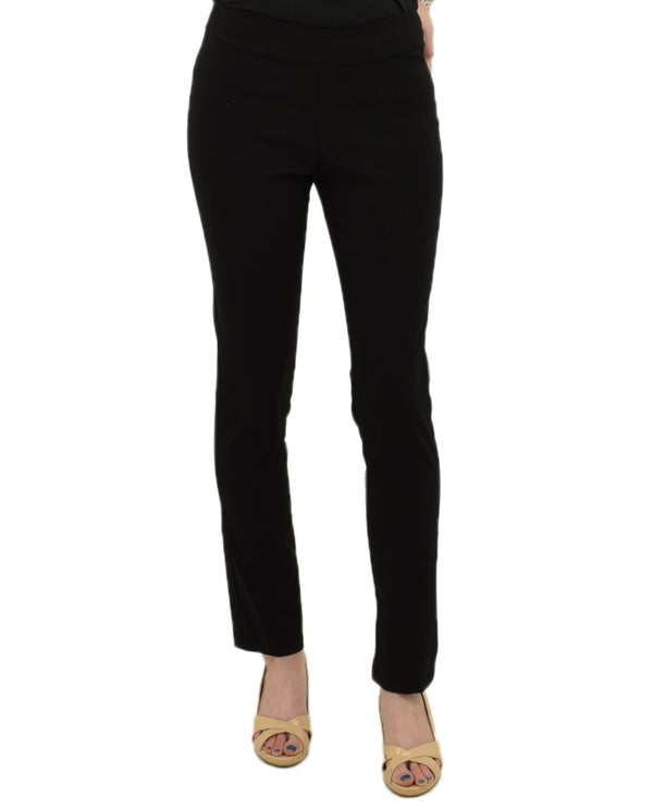 Krazy Larry P-513 Straight Leg Pants In black with tummy control technology and elastic waistband