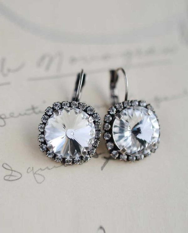 Clear Vickie Halo Earrings By Rachel Marie Designs with sparkling Swarovski crystal