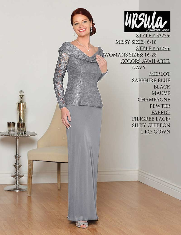 Ursula 33275 Lace Sequin Bodice Gown pewter long sleeve lace gown with boat neckline