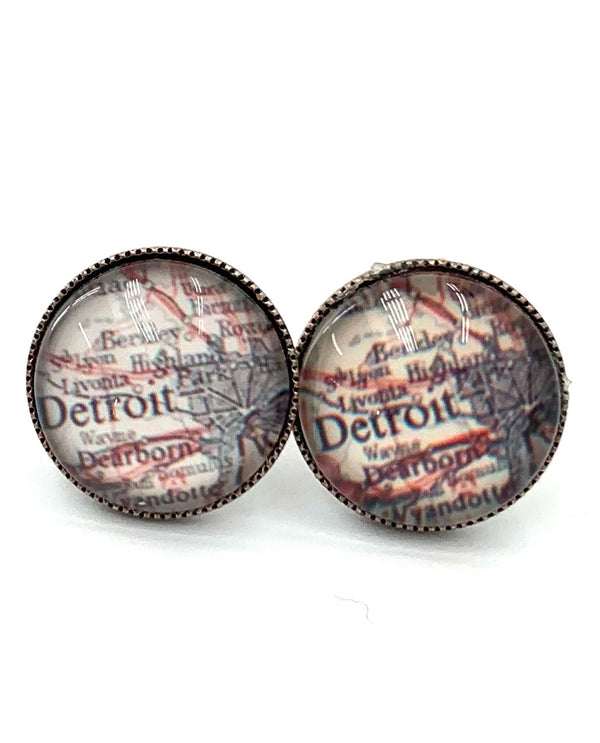 Detroit Map Earrings By Rachel Marie Designs