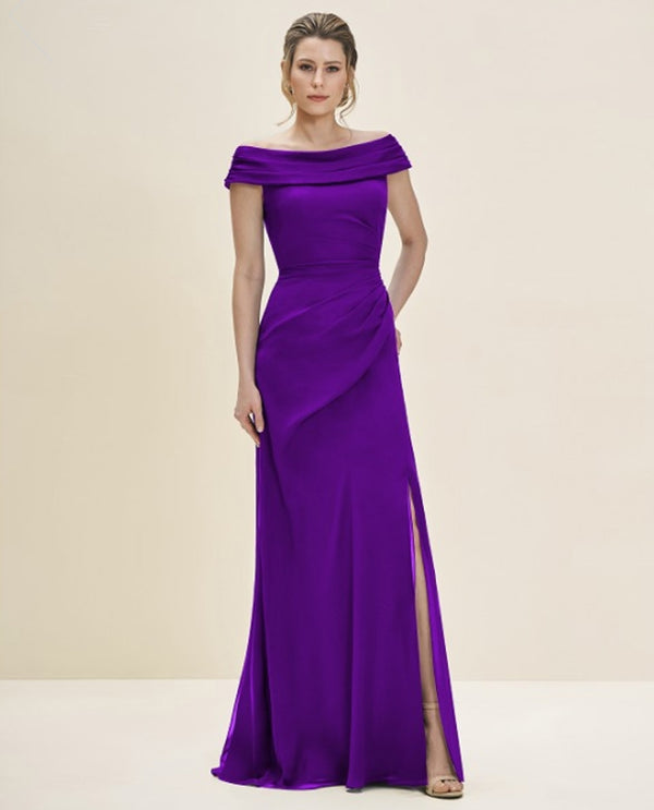 Fig Purple Jade Jasmine J195057 Petite Portrait Neck Dress