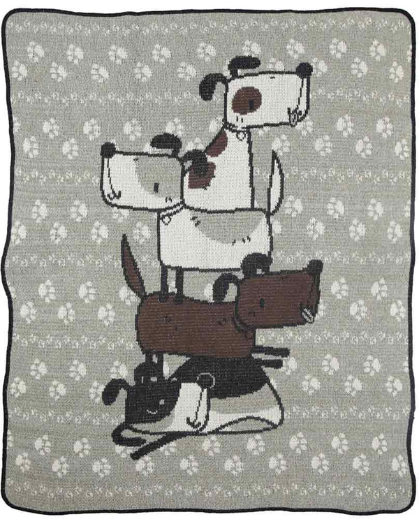 Green 3 433-99 Stacked Dogs Jr Throw Blanket