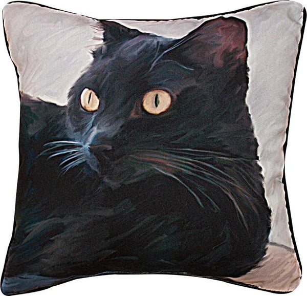 Manual Woodworkers & Weavers Black Cat Portrait Pillow hand painted short hair black cat