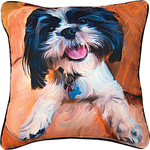 Manual Woodworkers & Weavers Shihtzu Baby Pillow with hand painted shihtzu