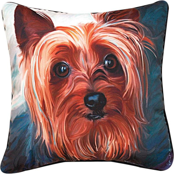 Manual Woodworkers & Weavers Yorkie Pillow adorable hand painted dog pillow