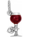 Brighton JC1331 I Love Wine Charm wine glass charm filled with red wine