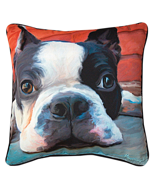 Manual Woodworker & Weavers SLMXBT Moxley Boston Terrier Pillow