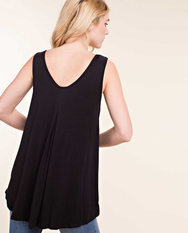 Vocal 14364T black Tank With Beads around the neck