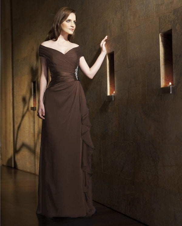 Espresso jade jasmine dress j1161 petite ruche with rhinestone mother of the bride dress